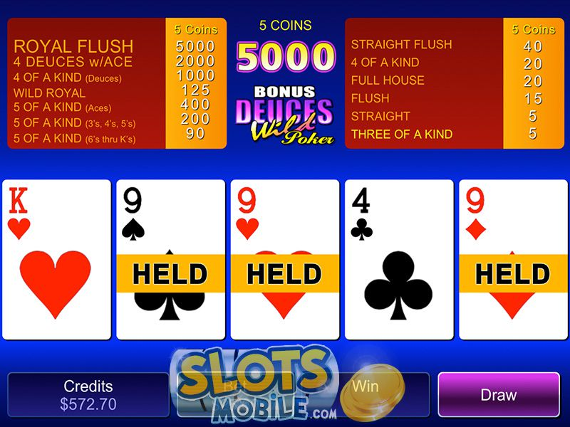 Free bonus deuces wild video poker