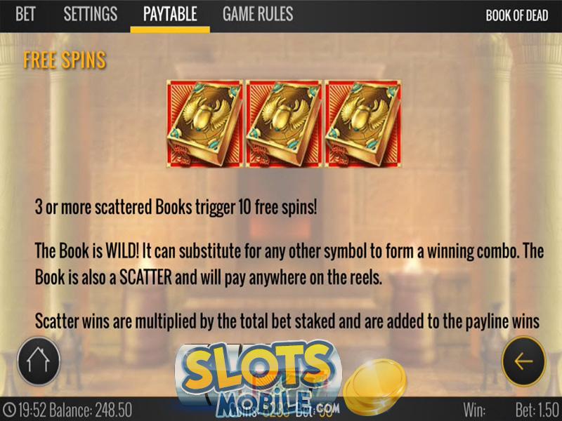 book of dead mobile casino